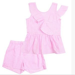 Tahari Pink Stripe Ruffle Peplum Top & Shorts